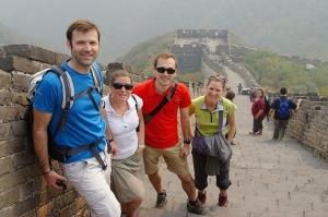 Katell, Guillaume, Nicolas et Maylis sur la muraille de Chine, Pekin-Beijing, Chine