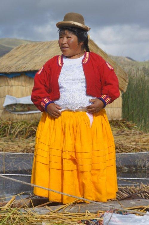 La présidente - Uros - Lac Titicaca - Pérou